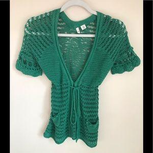 MOTH Green Crocheted Cardigan